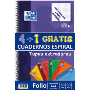 Pack 4+1 blocs. Cuadriculado. Tapa cartón extradura.