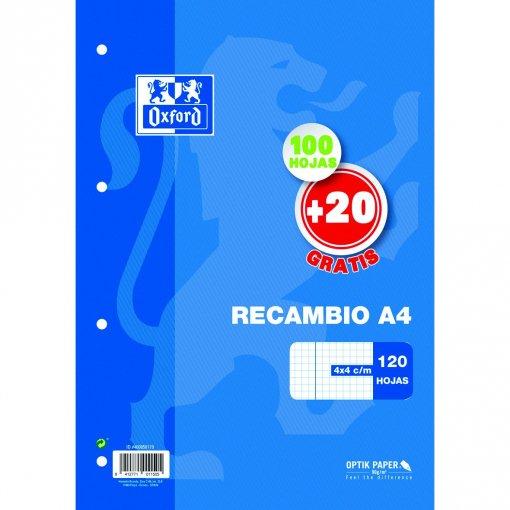 Recambio papel cuadriculado 4x4 90 grms.