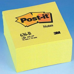 Cubo 450 notas Post-it amarillas 76 x 76 mm. 636-B