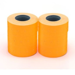 6 rollos etiqueta  manual 21x12 mm. naranja Apli 101566