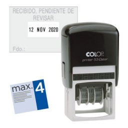 Printer 53 4 líneas personalizables + fecha 45x30 mm. Colop PR.53.D