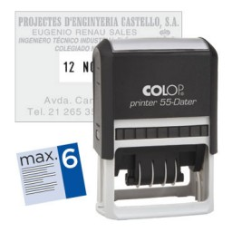 Printer 55 4 líneas  personalizables+ fecha 60x40 mm. Colop PR.55.D